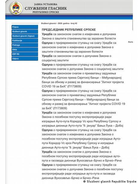 Bosnische Entität Republik Srpska | Coronavirus | Präsidentenerlass