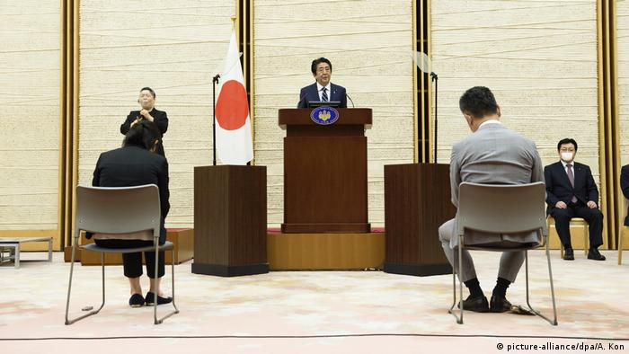 Japan Tokio Coronavirus Shinzo Abe (picture-alliance/dpa/A. Kon)