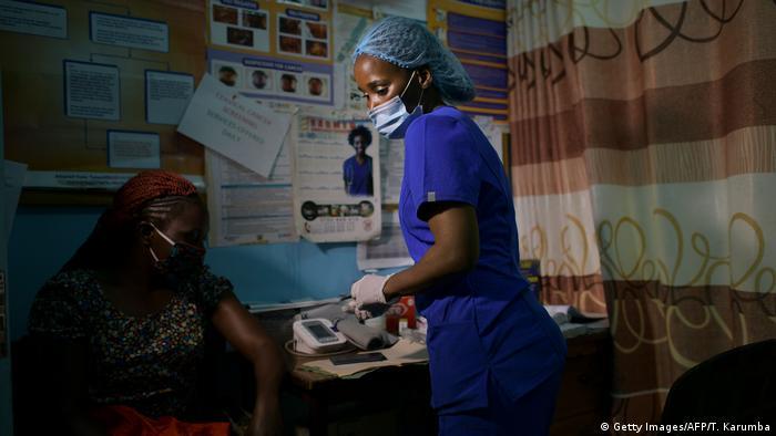A nurse works in a hospital in Nairobi