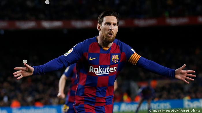 ليونيل ميسي في يوم 7 آذار/ مارس 2020 في ملعب برشلونة
