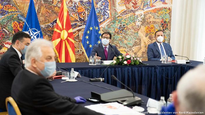 Nord-Mazedonien   Treffen des mazedonischen Sicherheitsrates bei dem Präsidenten Stevo Pendarovski