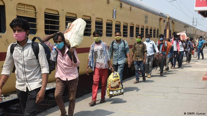 Migrant Workers at a rail station to go home during lockdown in India