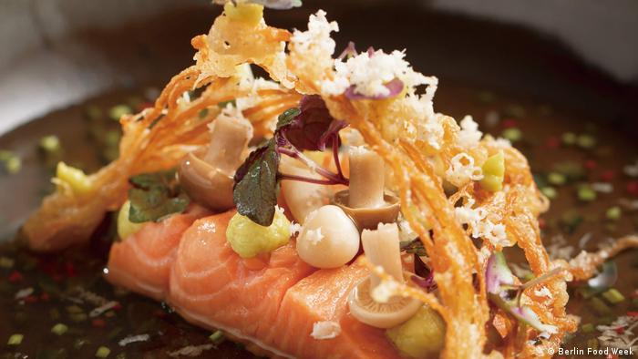Salmon in shiso tea (Berlin Food Week)