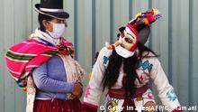 BdTD Peru Harlekin der Anden erinnert an Corona-Schutzmaßnahmen