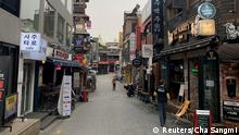 Coronavirus Südkorea Seoul leere Einkaufsstraße