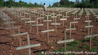 Dans un cimetière de Kigali où ont été enterrés de nombreuses victimes du génocide