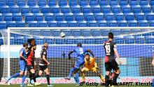 Hoffenheim's Togolese forward Ihlas Bebou (C) fails to score past Hertha's Norwegian goalkeeper Rune Jarstein during the German first division Bundesliga football match TSG 1899 Hoffenheim v Hertha Berlin on May 16, 2020 in Sinsheim south-western Germany as the season resumed following a two-month absence due to the novel coronavirus COVID-19 pandemic. (Photo by THOMAS KIENZLE / various sources / AFP) / DFL REGULATIONS PROHIBIT ANY USE OF PHOTOGRAPHS AS IMAGE SEQUENCES AND/OR QUASI-VIDEO (Photo by THOMAS KIENZLE/AFP via Getty Images)