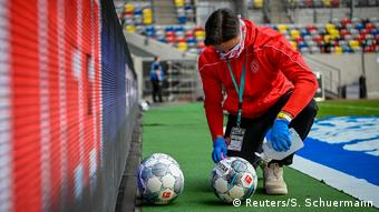 Footballs were disinfected before play resumed in the Bundesliga