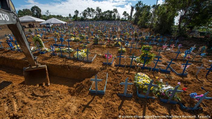 A mass grave with crosses in Manaus (picture-alliance/dpa/Semcom/Prefeitura Manaus/A. Pazuello)