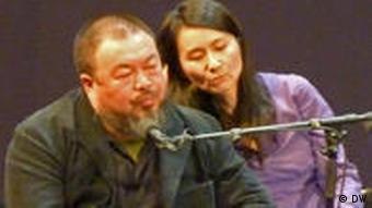 Ai Weiwei and his interpreter at lit.COLOGNE