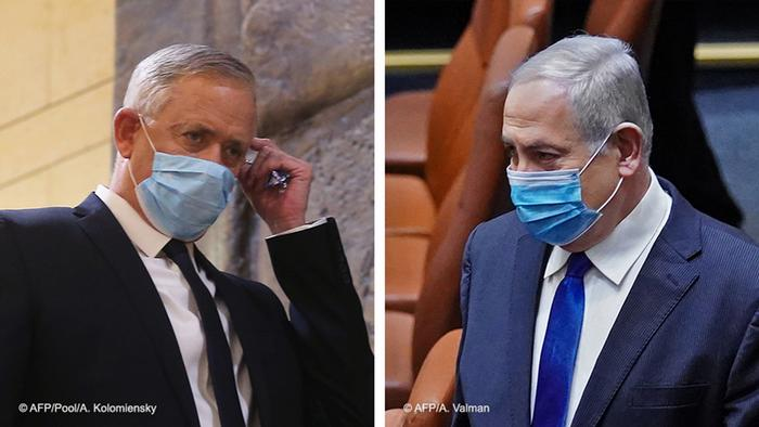 Montagem de fotos de Benny Gantz e Benjamin Netanyahu de máscara