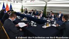 Nord-Mazedonien Skopje | Treffen der Parteiführer bei dem Präsidenten Stevo Pendarovski