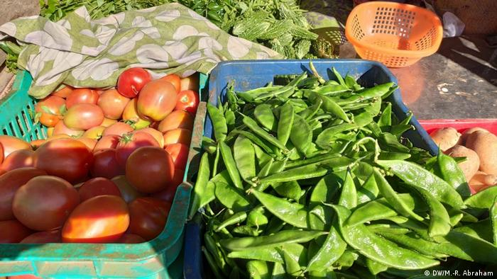 Fresh vegetables in boxes
