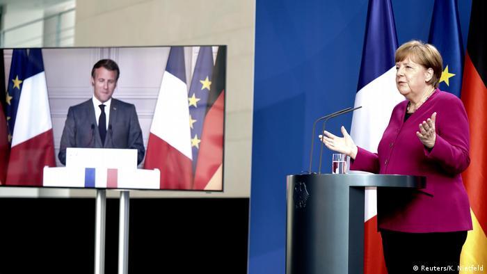 Berlon | Videokonferenz Emmanuel Macron und Angela Merkel (Reuters/K. Nietfeld)