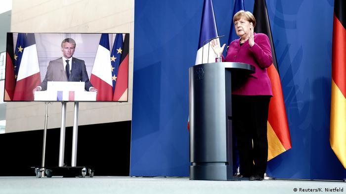 Berlon   Videokonferenz Emmanuel Macron und Angela Merkel