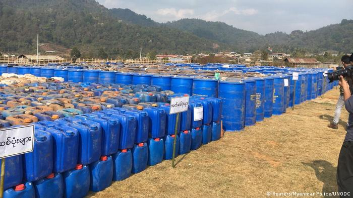 Precursor chemicals used to make illicit drugs such as methamphetamine, ketamine, heroin and fentanyl seized by Myanmar police and military are seen in this undated photo near Loikan village in Shan State