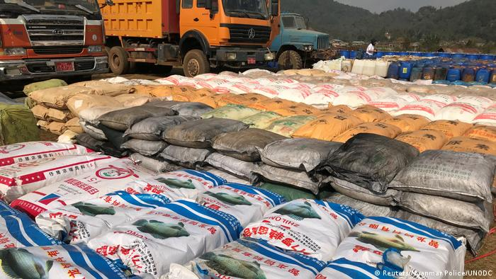 Precursor chemicals used to make illicit drugs such as methamphetamine, ketamine, heroin and fentanyl seized by Myanmar police and military