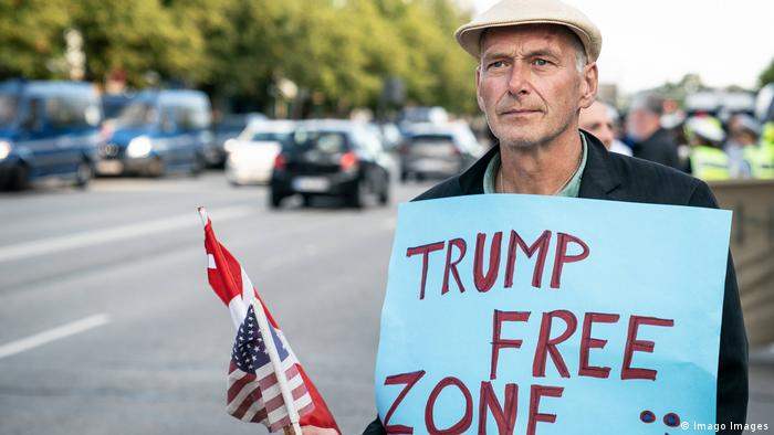 An anti-trump protester in Denmark