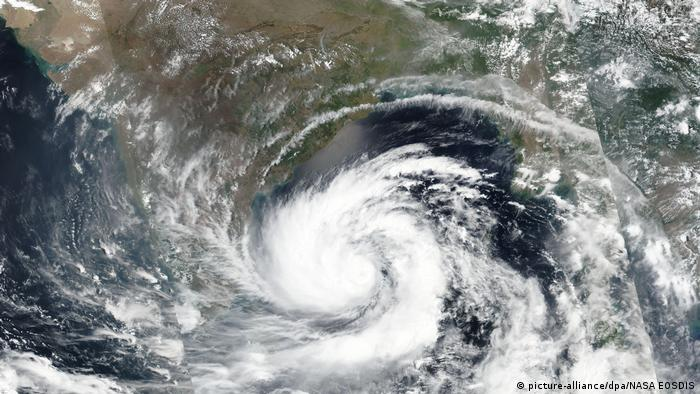 Satellite image of cyclone Amphan