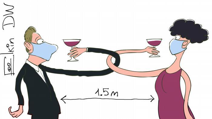 Карикатура Сергея Ёлкина на тему социального дистанцирования