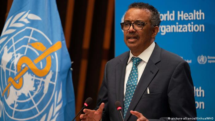 Tedros Adhanom Ghebreyesus speaks at the 73rd World Health Assembly at the WHO headquarters in Geneva, Switzerland,