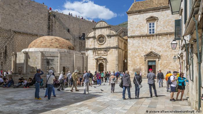 tourists in the Old City of Dubrovnik, Croatia