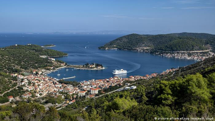 View of the harbor on the island Vis, Croatia