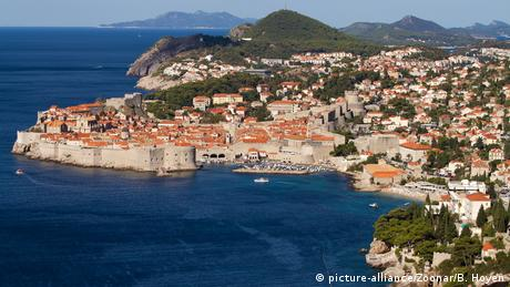Aerial view of Dubrovnik, Croatia with its coastline