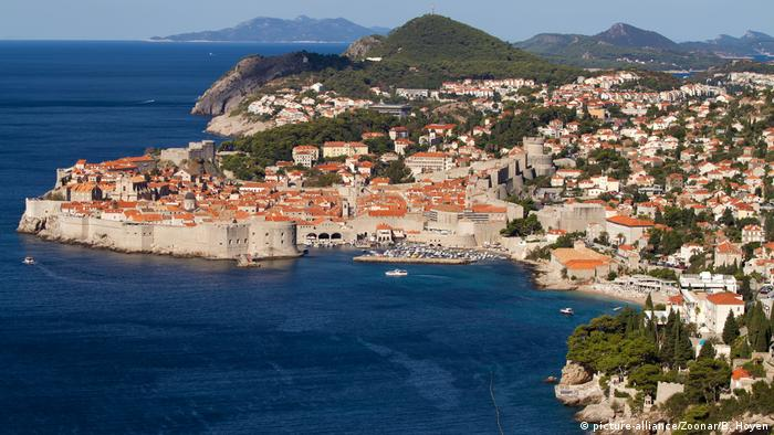 Aerial view of Dubrovnik, Croatia with its coastline