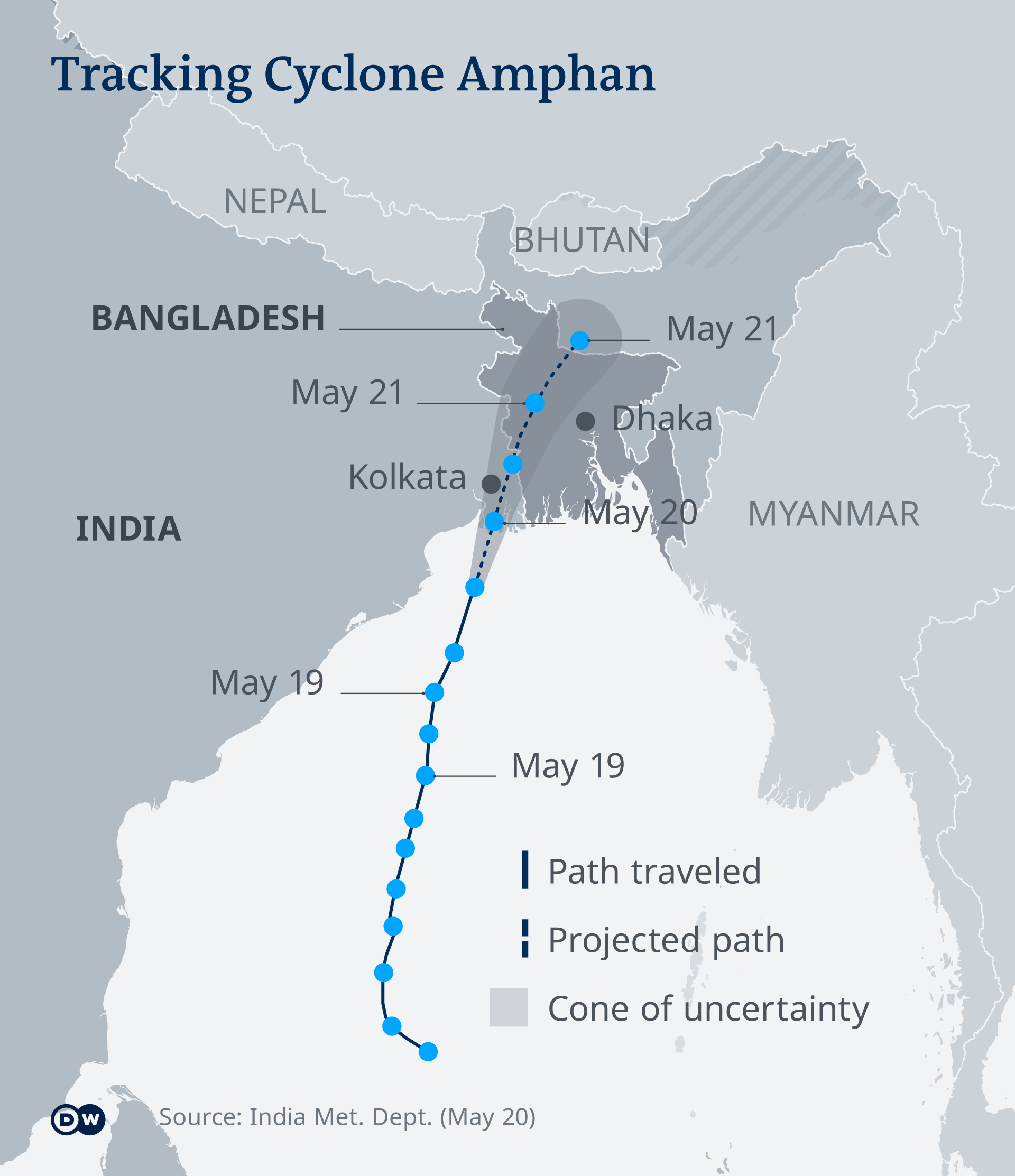 A graphic showing the path and projected path of the cyclone. 20.05.2020 EN