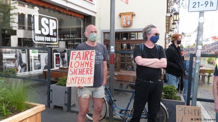 Bonn | Demonstrantion für Lohnzahlungen für rumänische Erntehelfer