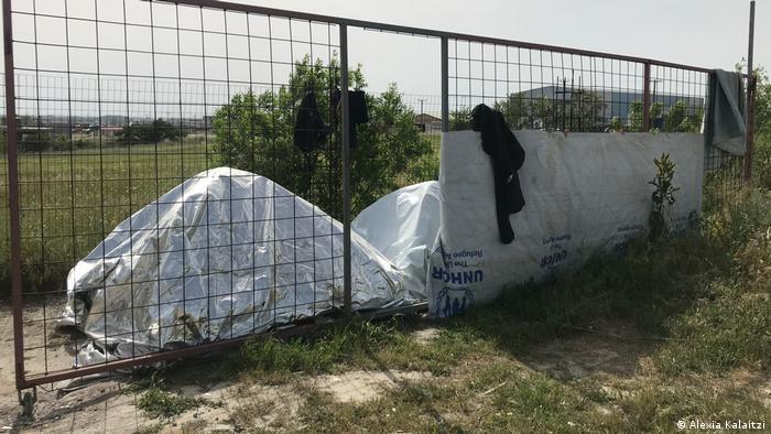 Make-shift tents outside the refugee camp Diavata near Thessaloniki