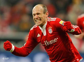 Arjen Robben celebrates scoring a goal for Bayern Munich.