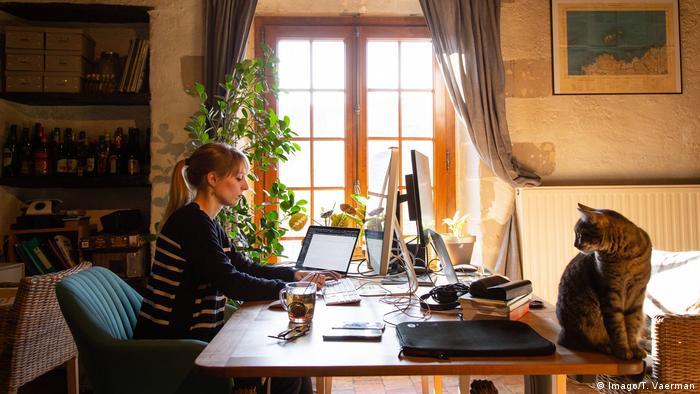 Mujer trabajando con la computadora en su casa, mientras su gato la observa.