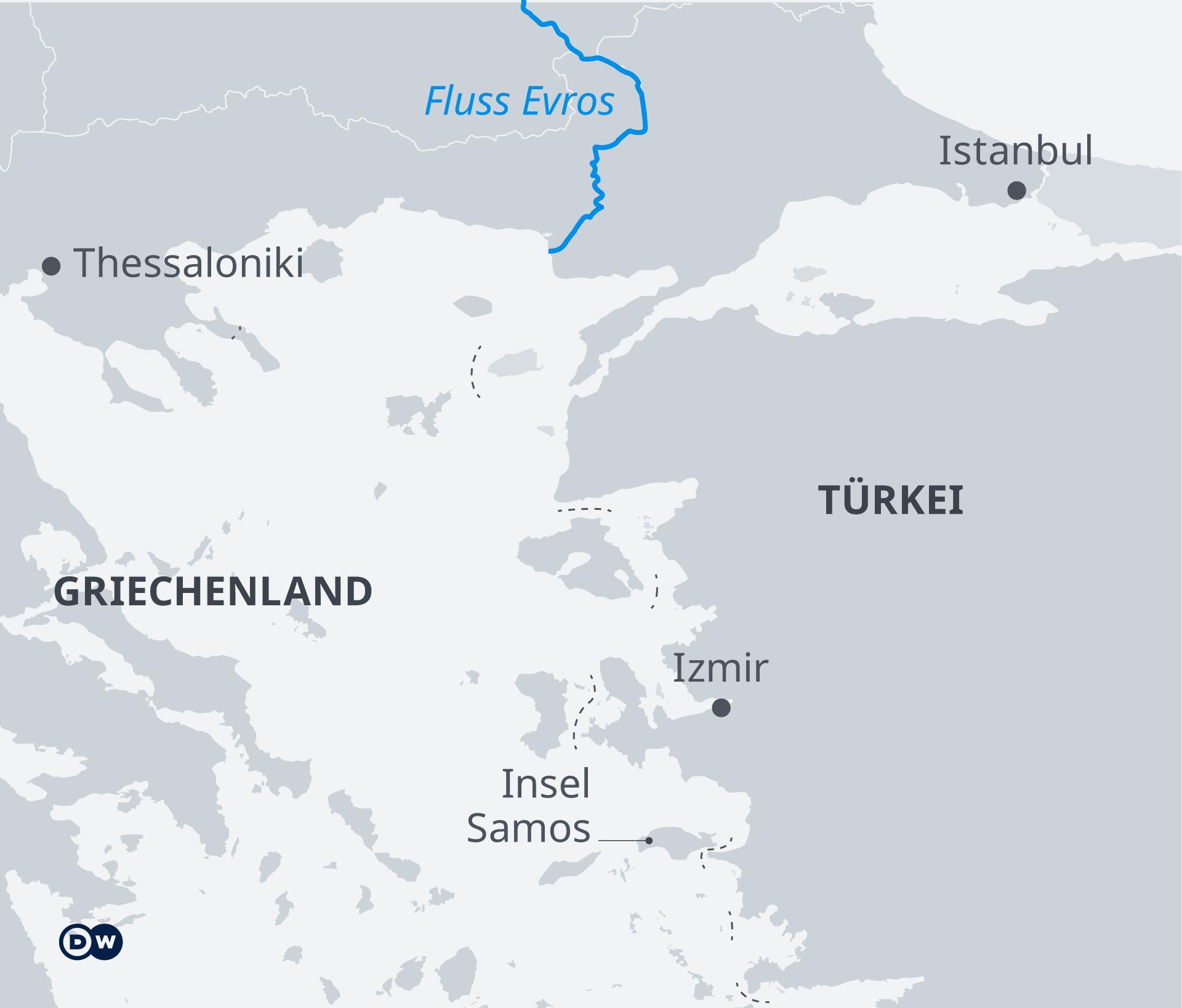 Infografik Karte Grenze zwischen Griechenland und der Türkei DE