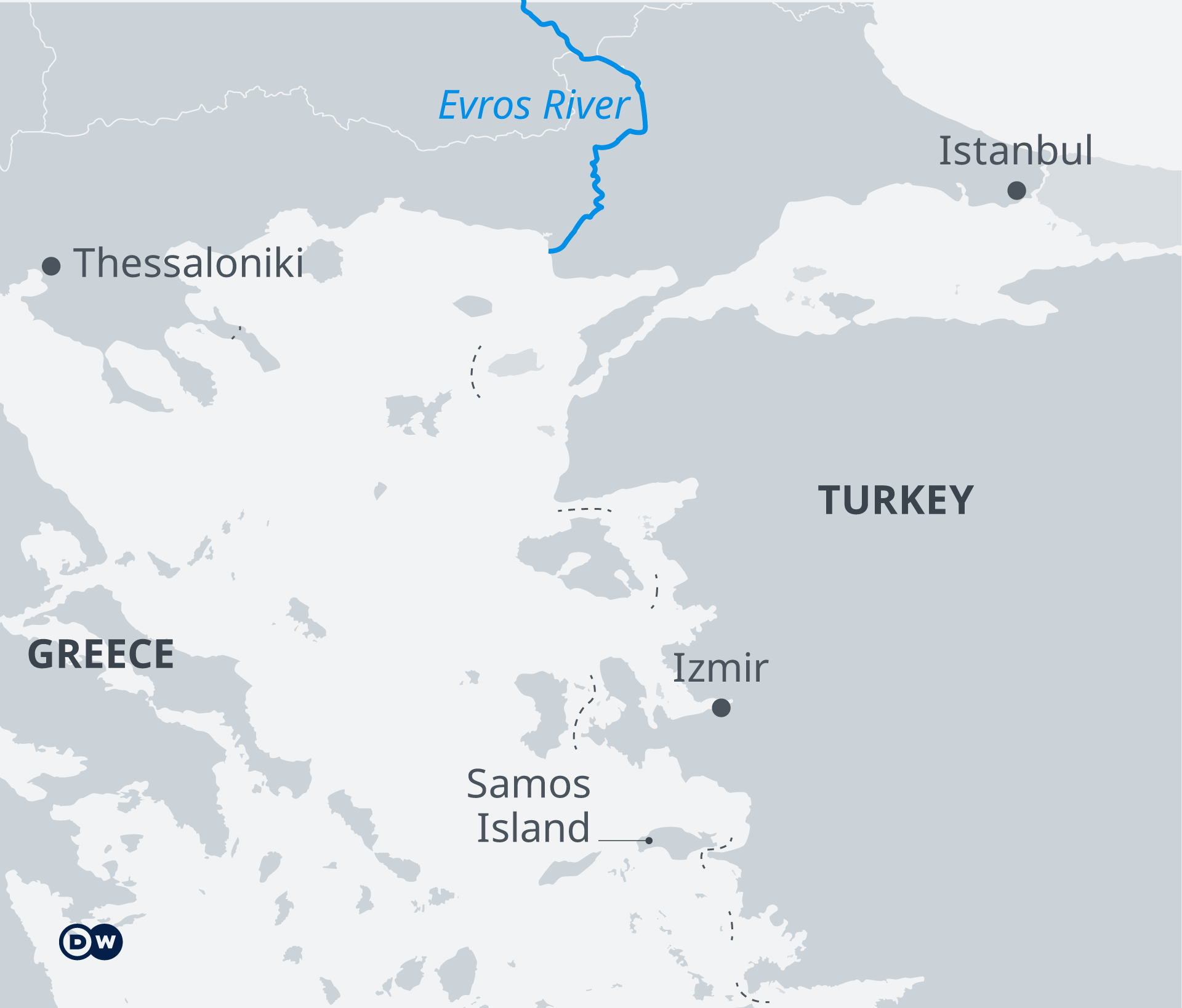 A map showing the border between Turkey and Greece