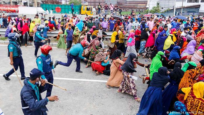 Bangladesch Dhaka Proteste von Textilarbeitern