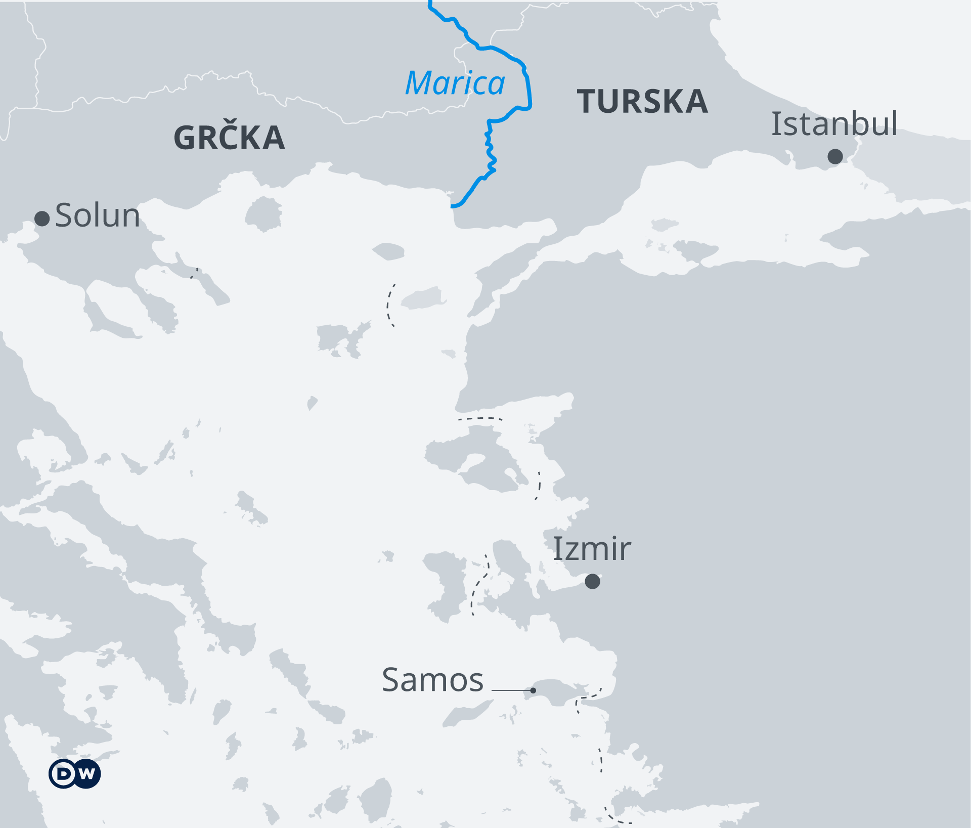 Infografik Karte Grenze zwischen Griechenland und der Türkei SR