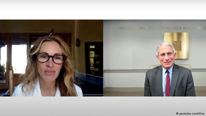 Screenshot Videochat Julia Roberts und Anthony Fauci #PasstheMic