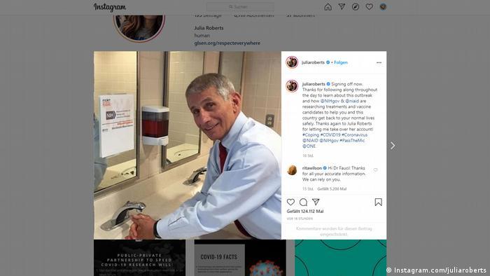 Screenshot Julia Roberts Instagram-Account Anthony Fauci