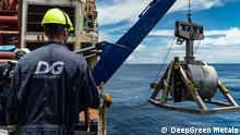 Förderkorb für Mineralien vom Grund des Ozeans auf einem Schiff der Firma Deep Green Mining Pressebild Deep Green Mining © DeepGreen Metals