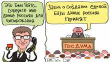 Bildbeschreibung: Karikatur - Bill Gates ruft beim russischen Parlament an und bittet um die Daten von russischen Bürgern für Einpflanzen von Microchips. Das russische Parlament stimmt für die Datenbank über russische Bürger. Thema: Russisches Parlament ist für die Datenbank über russische Bürger Stichworte: Sergey Elkin, Russland, Datenschutz, Datenbank DW, Sergey Elkin