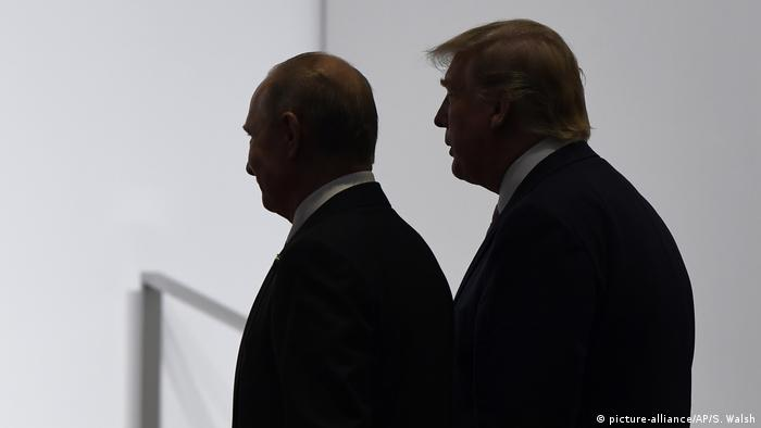 Donald Trump and Vladimir Putin in shadow