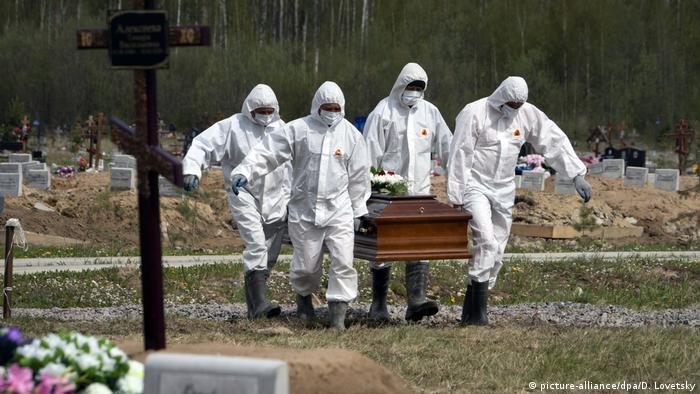 Beerdigung eines COVID-19-Opfers in St. Petersburg