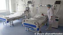 21.05.2020 IVANO-FRANKIVSK, UKRAINE - MAY 21, 2020 - A healthcare provider attends to a patient in a ward at the newly created emergency department of the Regional Clinical Hospital of the Ivano-Frankivsk Regional Council, Ivano-Frankivsk, western Ukraine. |