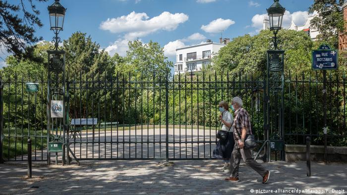 A park, with the gates shut