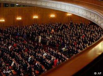 The People's Congress meets once a year in the Great Hall of the People in Beijing