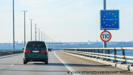 Border crossing sign to Denmark