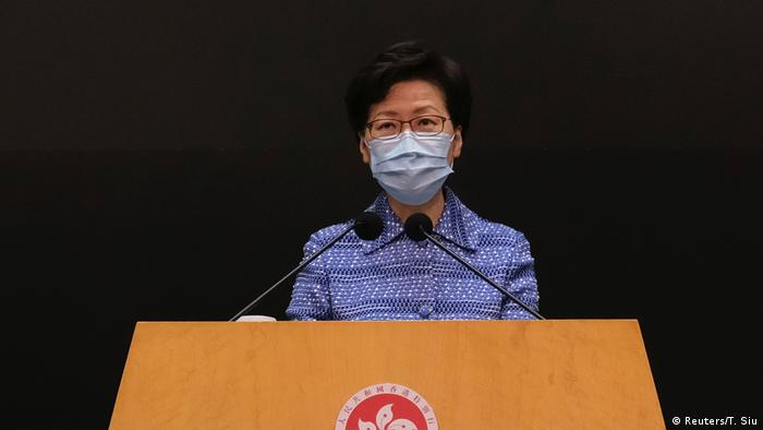 Carrie Lam at a press conference on May 26