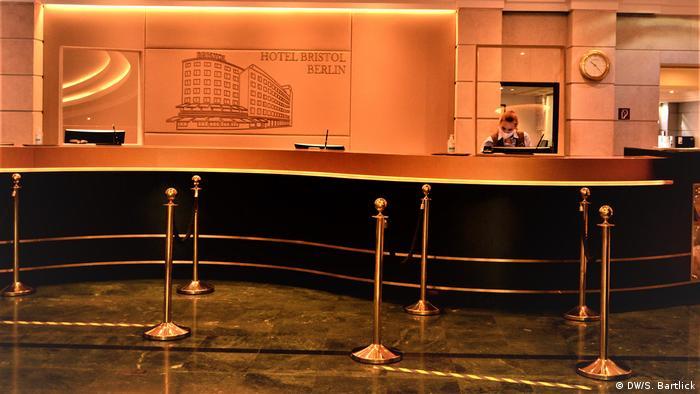 Empty reception area at the Hotel Bristol in Berlin